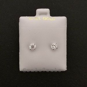 10K Gold Solid Real 10KT 5mm CZ Earrings